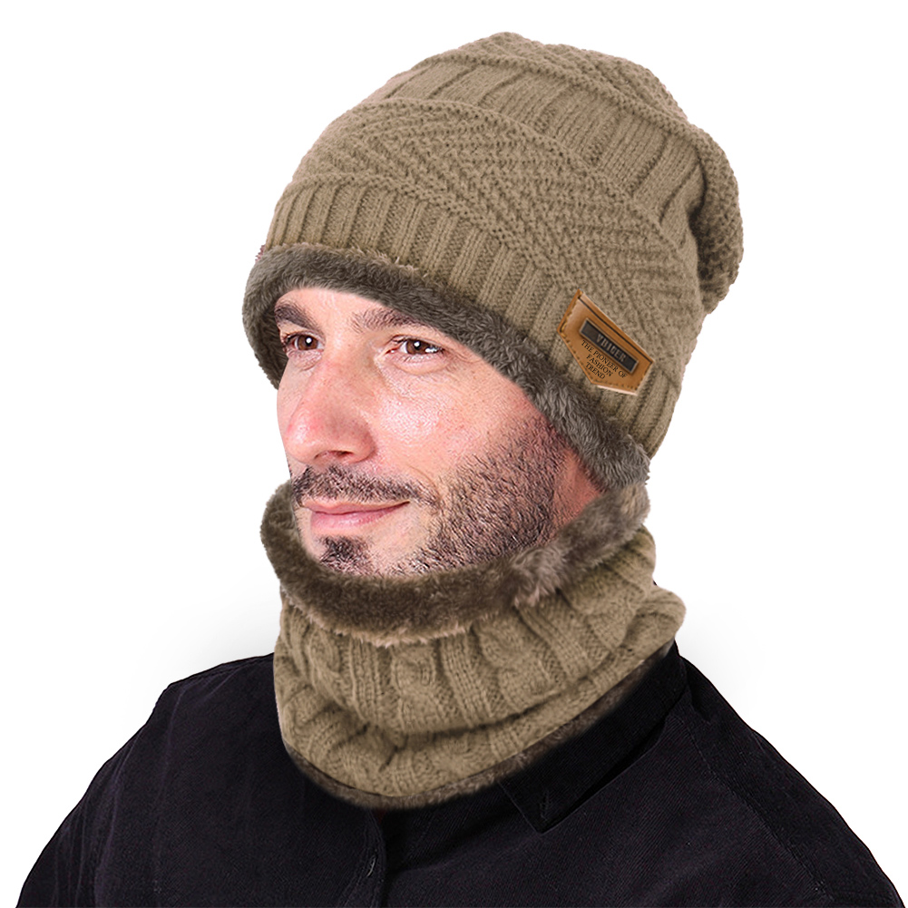 Mens Beanie Hat Scarf Sets Winter Thermal Fleece Lined Knit Skull Hat Knitted Infinity Loop Scarf 2 Pcs Sets,Khaki