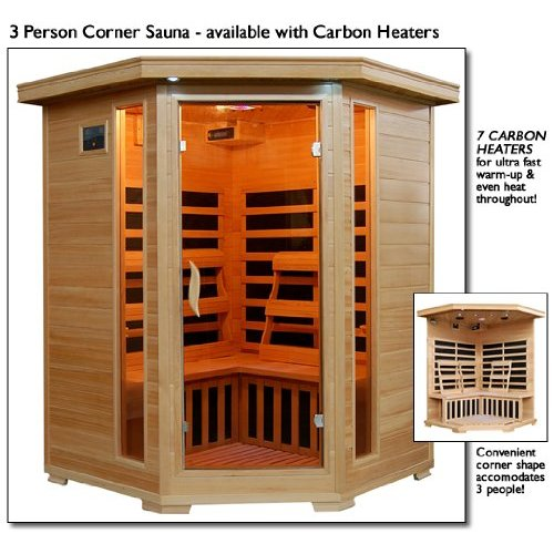 HeatWave Sante Fe SA2412DX Infrared 3 Person Carbon Sauna with Bronze Tinted Tempered... by
