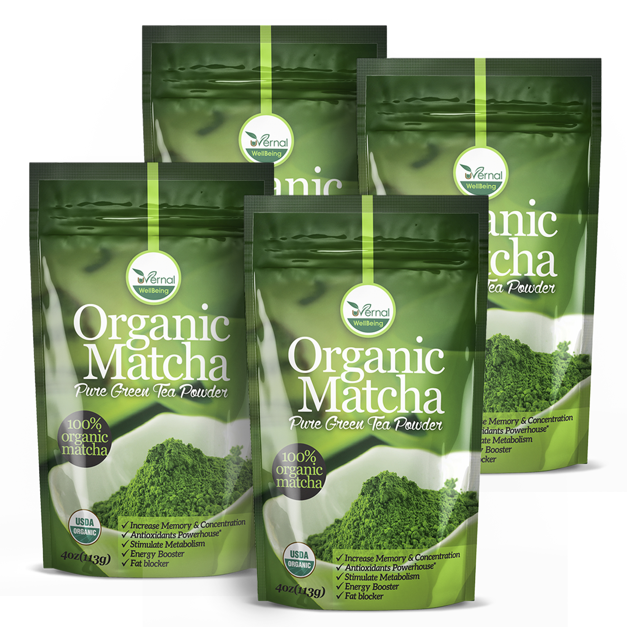 4 Pack Organic Matcha Green Tea Powder - 100% Pure Matcha (No Sugar Added - Unsweetened Pure Green Tea - No Coloring Added Like Others) 4oz