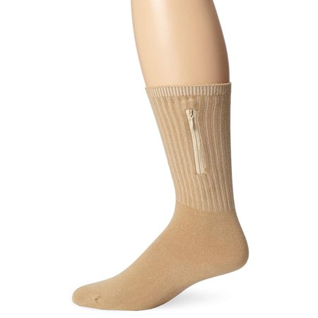 Security Socks Medium, Tan, One Size, Each sock has a hidden zipper pocket By Travelon