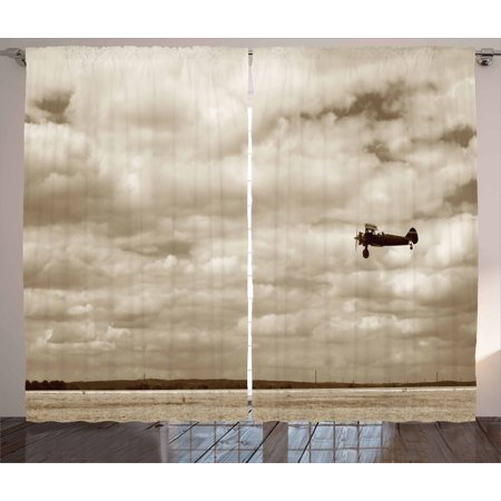 Vintage Airplane Decor Curtains 2 Panels Set, Fighter Plane in Dramatic Cloudy Sky Aviation Flyby Military Obsolete, Window Drapes for Living Room Bedroom, 108W X 84L Inches, Sepia, by -