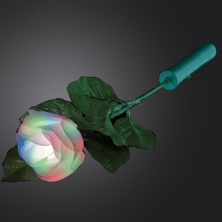 FlashingBlinkyLights 8 Color Light Up Rose with White Petals