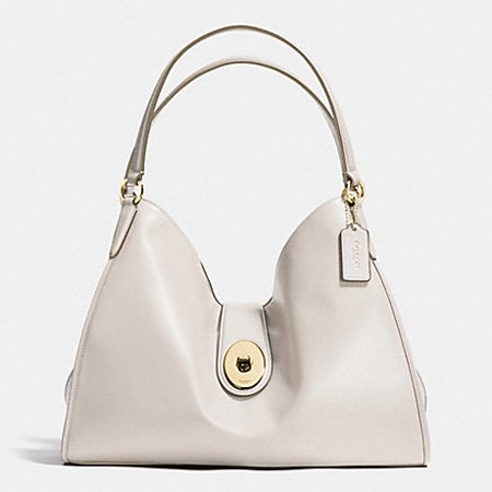 Carlyle Shoulder Bag In Smooth Leather  Coach F37637  Imitation Gold Chalk
