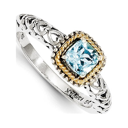 Sterling Silver w/14k Gold Blue Topaz Ring - image 6 of 6
