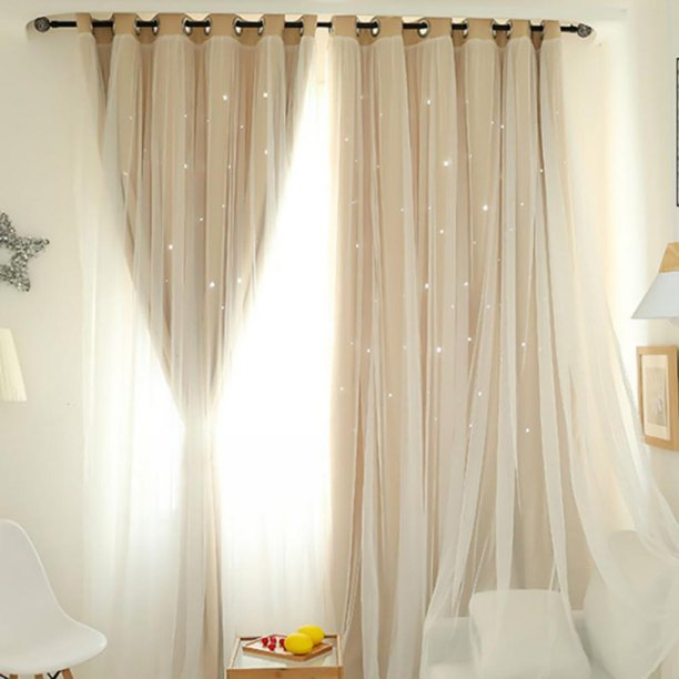 Nordic Ins Modern Tulle Black Out, Double Curtains For Living Room