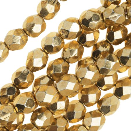 Czech Fire Polished Glass Beads 6mm Round 'Aurum Gold' (25)