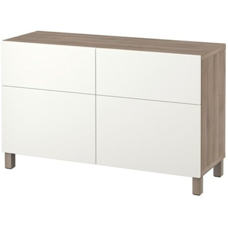 Ikea Storage Combination With Doors And Push Opener Drawers  Walnut Effect Light Gray  Lappviken White 8202 262917 2630