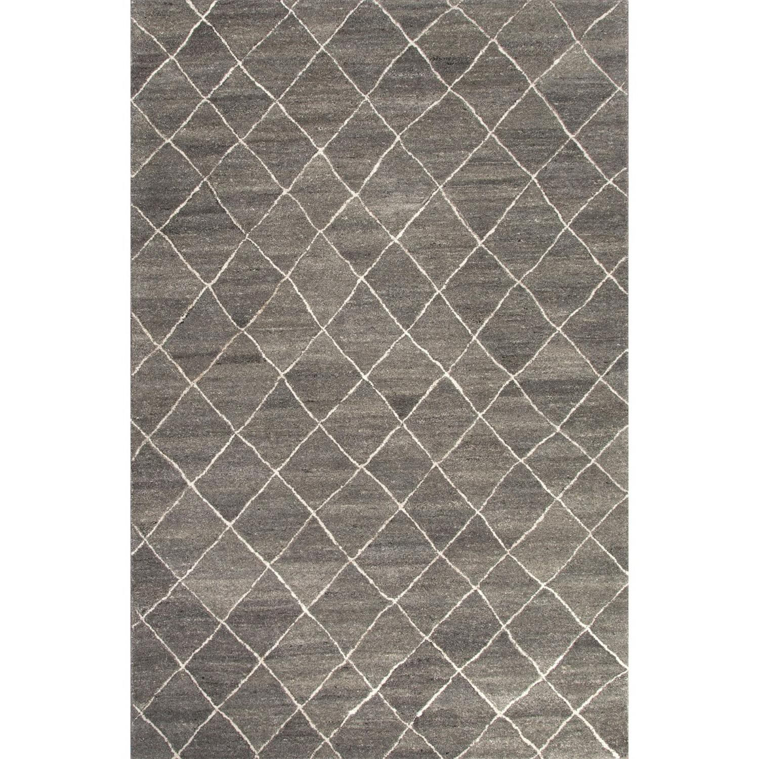 8' x 10' Crushed Stone Gray and Snow White Modern Gem Hand Tufted Wool Area Throw Rug