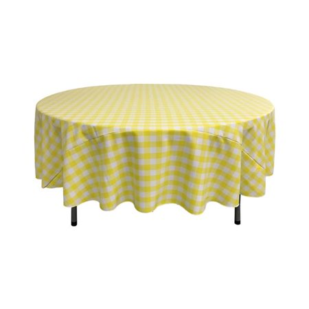 LA Linen TCcheck90R-LghtYellowK99 Polyester Gingham Checkered Tablecloth, White & Light Yellow - 90 in. Round - image 1 of 1
