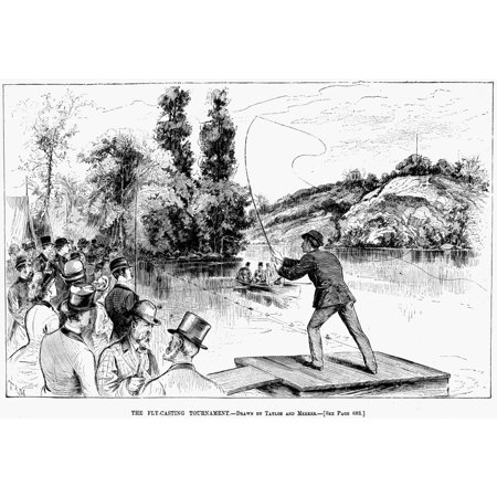 Fly Fishing 1883 Nthe Fly-Casting Tournament Line Engraving American 1883 Rolled Canvas Art -  (24 x