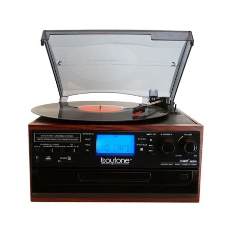 Boytone BT IN & OUT Classic Style Record Player Turntable with AM/FM Radio, Cassette Player, CD Player, 2 Separate Stereo Speakers, Record Vinyl, Radio, Cassette to MP3, SD Slot, USB,