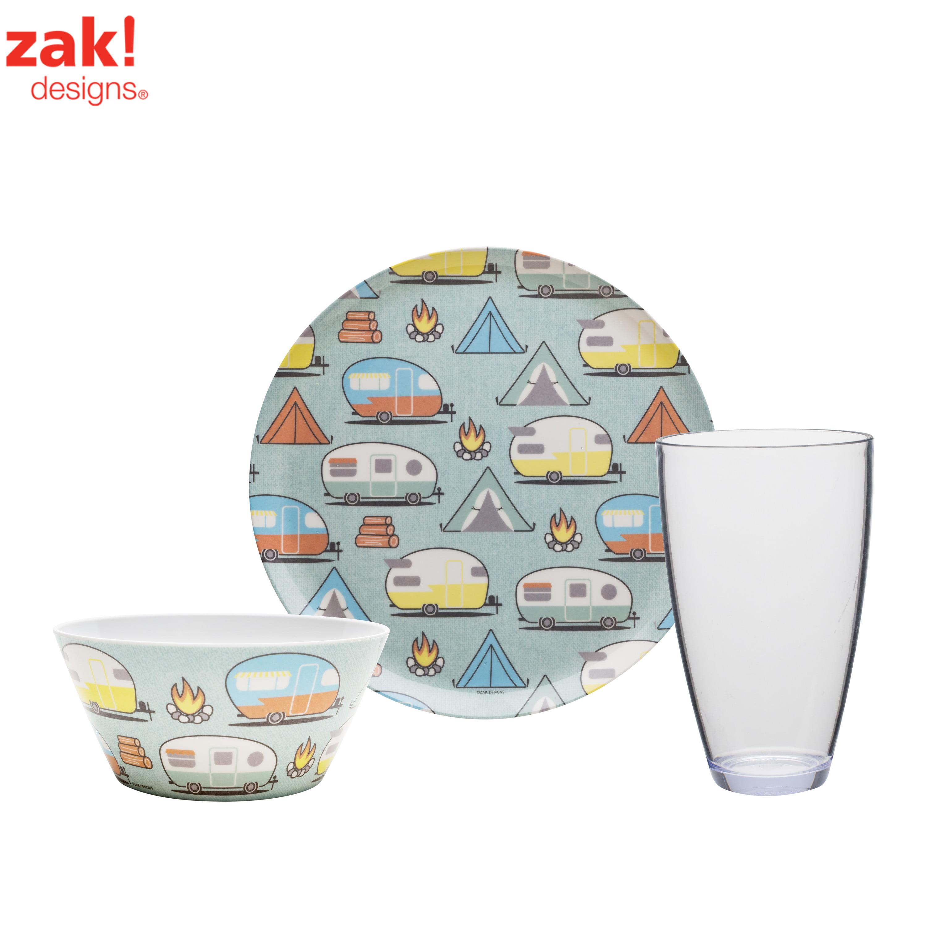 Zak Designs Adventurer Plates, Bowls & Tumblers Tents & Trailers , 12-piece set
