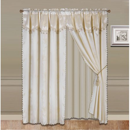 8 Piece Beige Ivory  Nada Luxury Faux Jacquard Floral Design Panel  Rod Pocket Window Curtain Set Attached Valance  Panel  And Sheer  Includes 2 Tie Backs