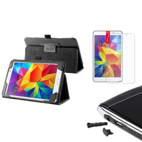 Insten Black Leather Stand Case+AG Protector/Dust Cap For Samsung Galaxy Tab 4 7.0 7 SM-T230
