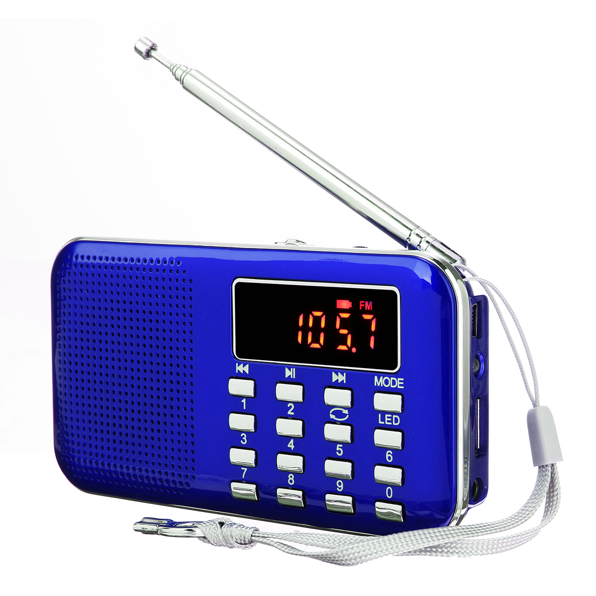 Portable Mini LED Display AM FM Radio Clear Speaker Music Player With Flashlight AUX/TF/USB Disk Multifunction, Rechargeable Earphone Jack (L-218 )