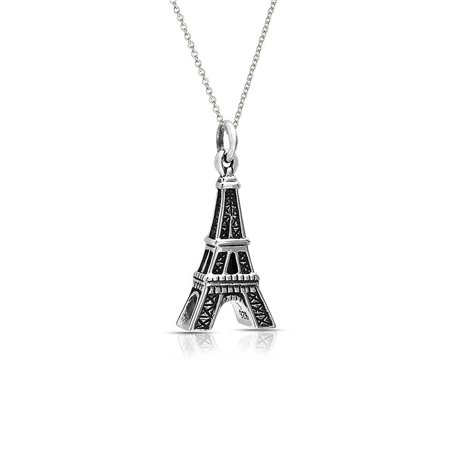 French Outdoor Pendant - French Dangling Eiffel Tower Pendant Necklace For Women For Teen Oxidized 925 Sterling Silver With Chain