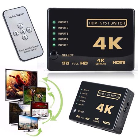 HDMI Switcher,Ragdoll50 3D 1080p 5Port 4K Switcher Selector Splitter Hub +IR Remote For (Selector Control)
