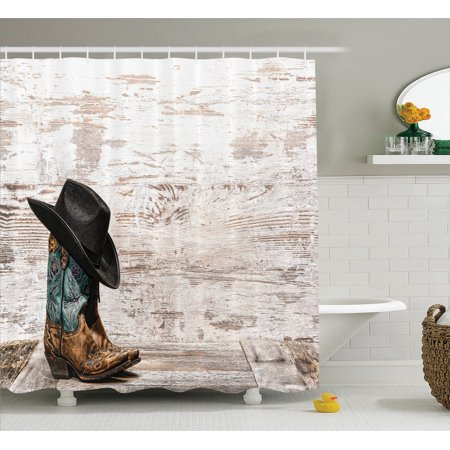 Western Decor Shower Curtain Set Traditional Rodeo Cowboy Hat And Cowgirl Boots In A Retro