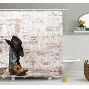 Western Decor Shower Curtain Set, Traditional Rodeo Cowboy Hat And Cowgirl Boots In A Retro Grunge Background Art Photo, Bathroom Accessories, 69W X 70L Inches, By Ambesonne