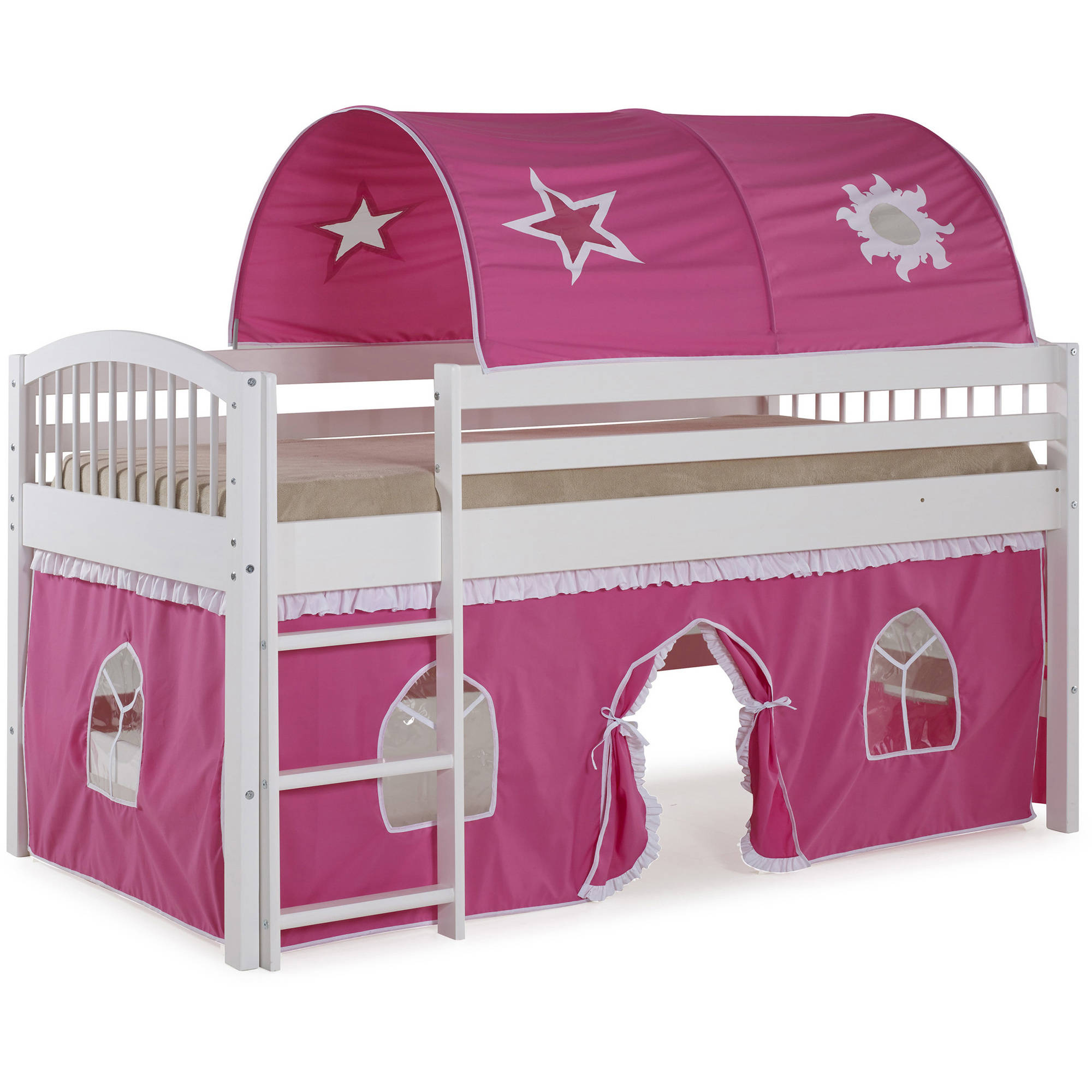 Addison White Junior Loft Bed, Pink and White Tent and Playhouse with White Trim