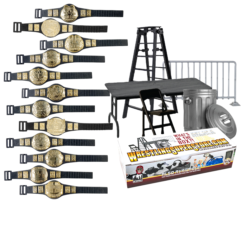 Wrestling Action Figure Gear Special Deal: Set of 12 Figure Belts (series 1) Plus 5... by Figures Toy Company