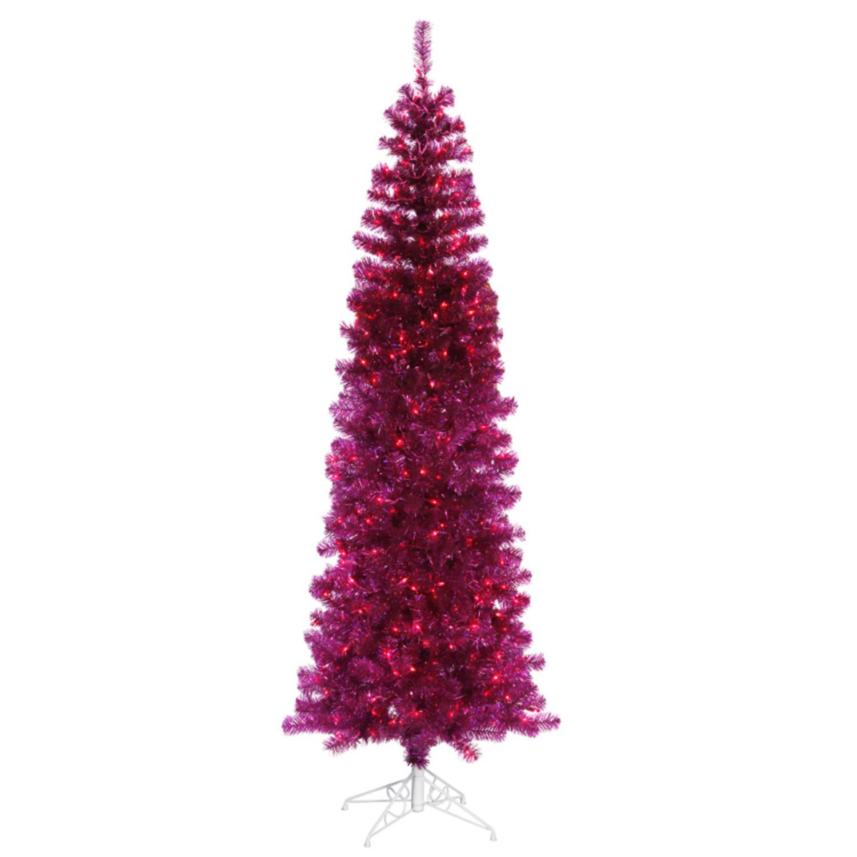 7.5' Pre-Lit Fuschia Artificial Tinsel Pencil Christmas Tree - Pink Lights