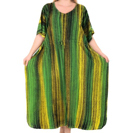 Womens Evening Free Size Party Rayon Long Tunic Dress Caftan Boho Chic Plus Size Tie Dye Kaftan For Ladies ()