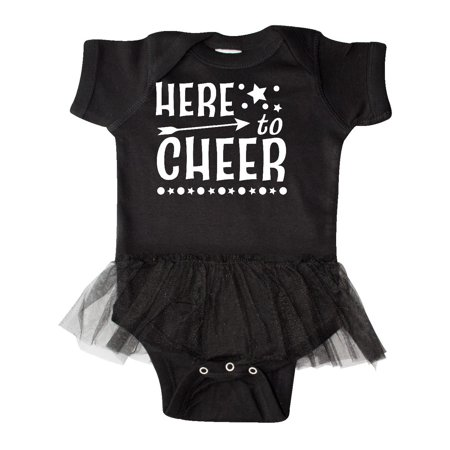 Here to Cheer- cheerleading with arrow and stars Infant Tutu Bodysuit
