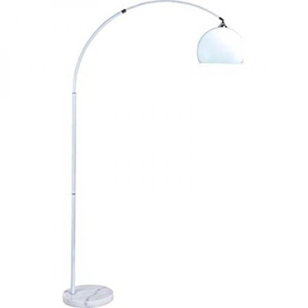 """SH Lighting 6937WH Adjustable Arching Floor Lamp with Marble Base, 77""""L, White Finish"""