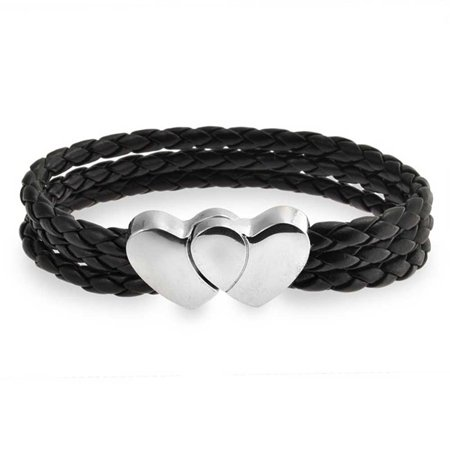 Interlocking Heart Clasp Black Triple Strand Woven Braided Leather Bracelet For Women For Girlfriend Stainless