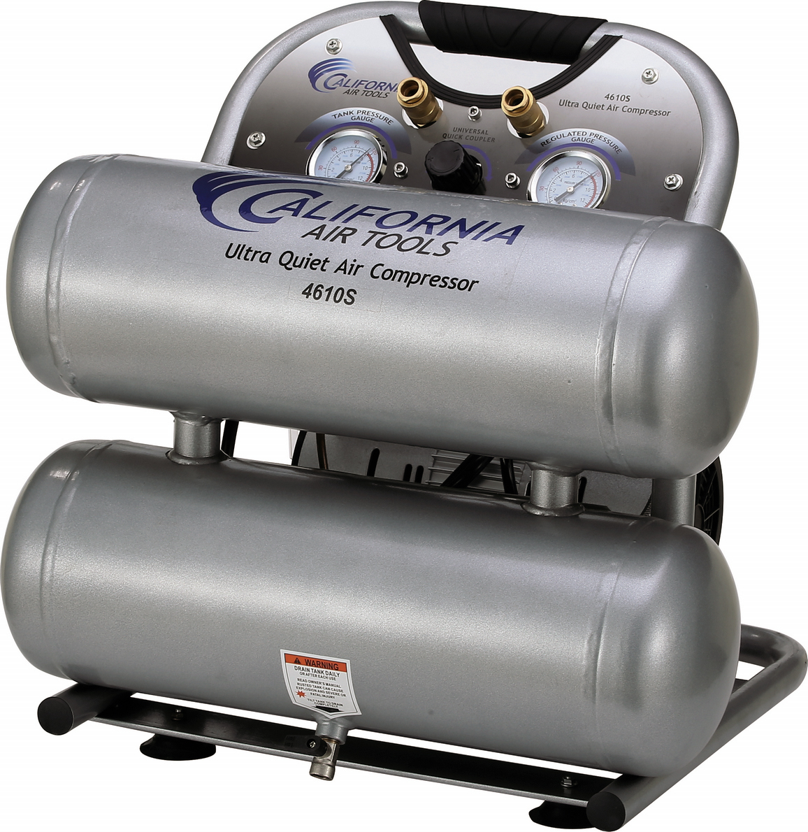 California Air Tools 4610S Ultra Quiet & Oil-Free 1.0 Hp, 4.6 Gal. Steel Twin Tank Air Compressor