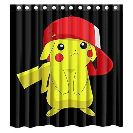 DEYOU Cute Carton Pikachu Pokemon Shower Curtain Polyester Fabric Bathroom Size 66x72 Inches