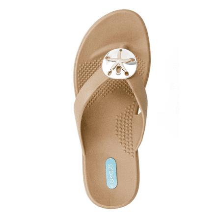 Sandy Flip Flop Sandal Shoes by OkaB Color Chai with Sand Dollar Pendant (M)