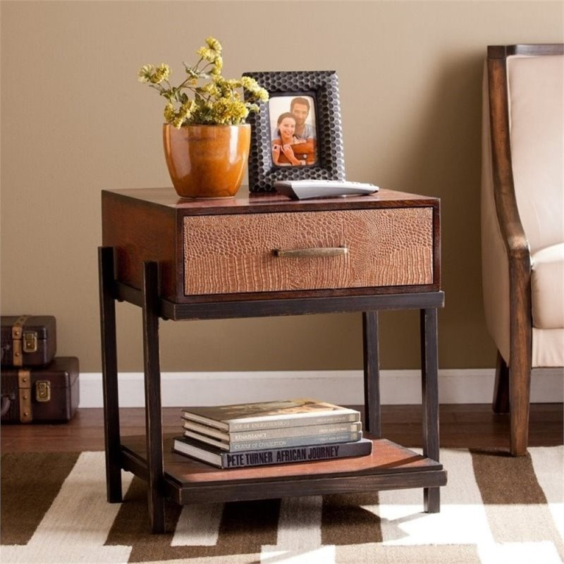 Pemberly Row End Table with Drawer in Espresso