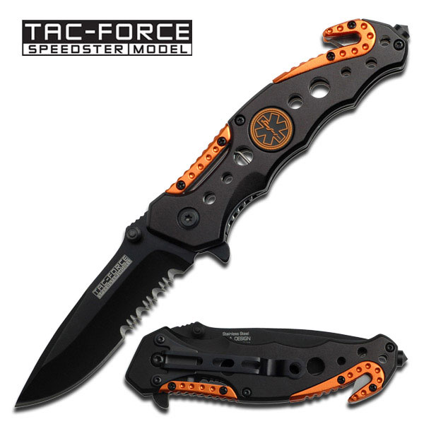 TAC Force TF-723 Series Assisted Opening Tactical Folding Knife, Black Half-Serrated Blade, 4-1/2-Inch Closed