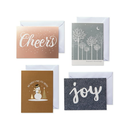 American Greetings Metallic Assorted Holiday and Christmas Boxed Cards with Envelopes, 20ct