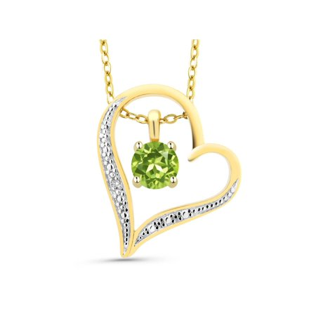 Round Green Peridot 18K 2-Tone Gold Plated Silver Diamond Accent Heart Pendant ()