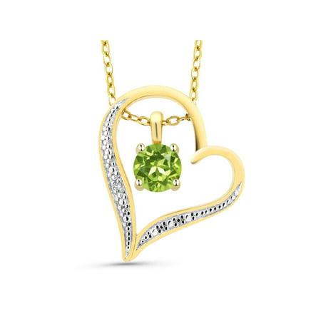 Round Green Peridot 18K 2-Tone Gold Plated Silver Diamond Accent Heart Pendant
