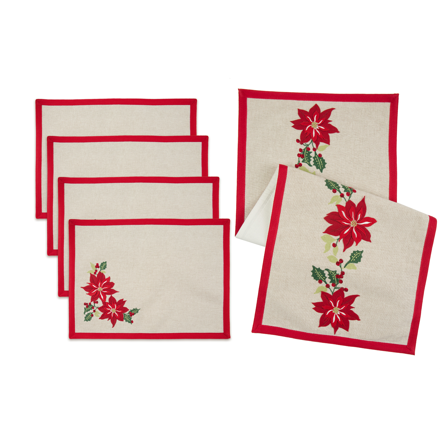 "Better Homes and Gardens 5 Piece Holiday Placemat and Table Runner Set, Poinsettia Embroidery, 14"" x 72"" Table Runner and 14"" x 19"" Placemats"