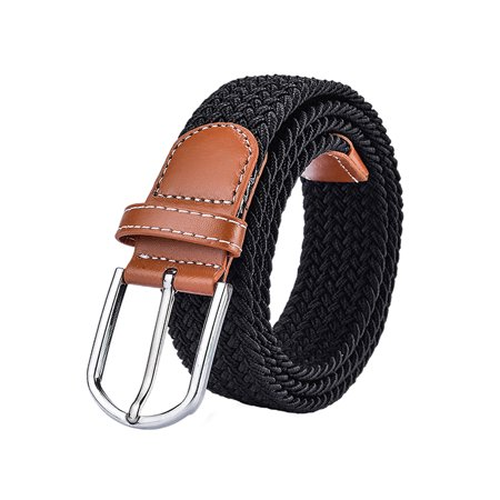 Braided Belt, Coxeer Unisex Braided Elastic Stretch Belt Faux Leather Casual Belts for Men Women
