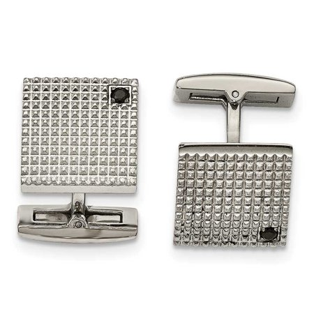 Stainless Steel Polished Texture Black CZ Cuff Links