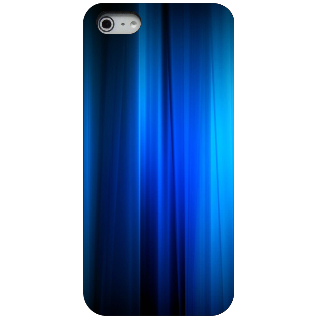 CUSTOM Black Hard Plastic Snap-On Case for Apple iPhone 5 / 5S / SE - Bright Blue Curtain