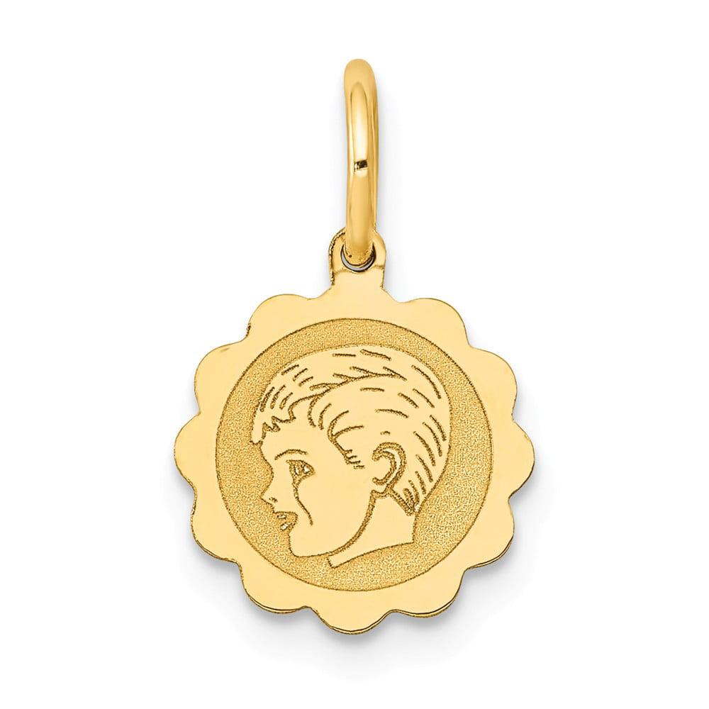 14k Yellow Gold Boy Head on 0.009 Gauge Engravable Scalloped Disc Charm Pendant