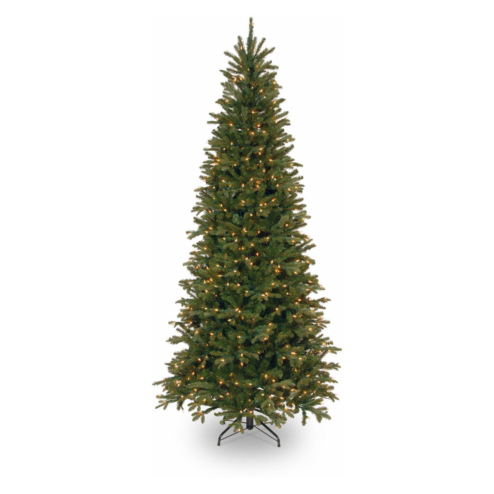 03101ec20 National Tree Pre-Lit 9  Feel-Real Tiffany Fir Slim Hinged Artificial  Christmas Tree with 800 Clear Lights - Walmart.com