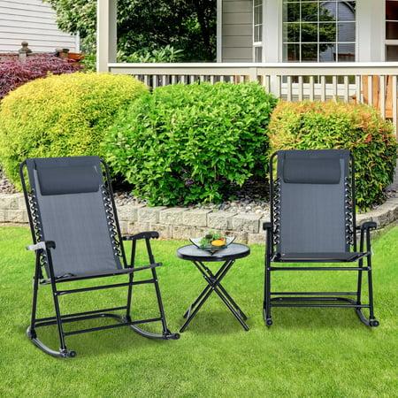 3pcs Folding Rocking Chair Patio Dining Table Set ()