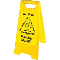 Impact Products English/Spanish Wet Floor Sign, Yellow, Black, 1 Each (Quantity)