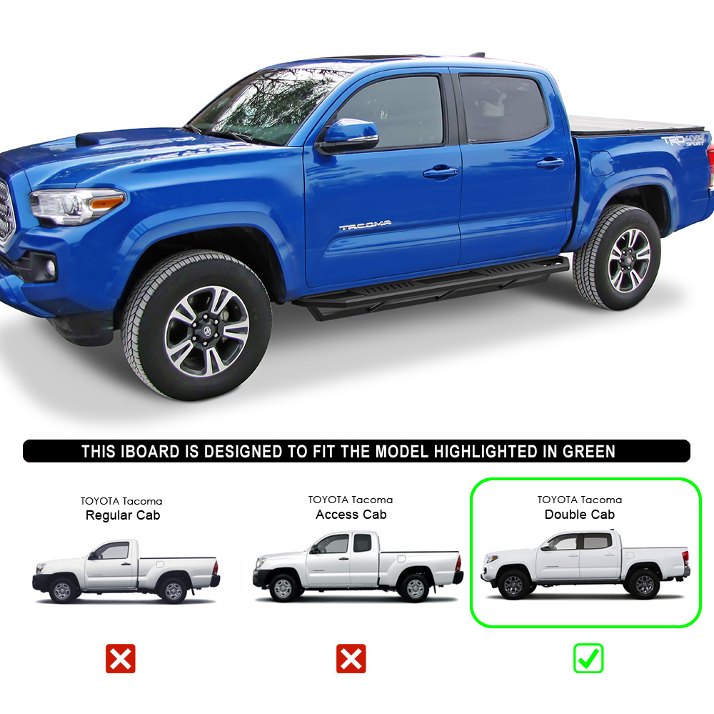 APS Off-Road 6.5in Side Armor Aluminum Running Boards Custom Fit 2005-2020 Tacoma Double Crew Cab Pickup 4-Door Nerf Bars Side Steps Side Bars