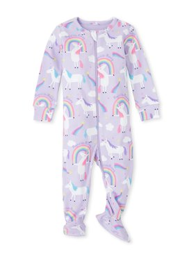The Children's Place Baby Toddler Girl Long Sleeve Zip-Up Stretchie Pajamas