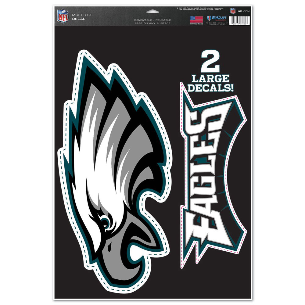 "Philadelphia Eagles WinCraft Name & Logo 11"" x 17"" Multi-Use Decal Sheet - No Size"