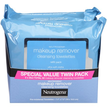 Neutrogena Makeup Remover Cleansing Towelettes & Face Wipes, Twin Pack 25